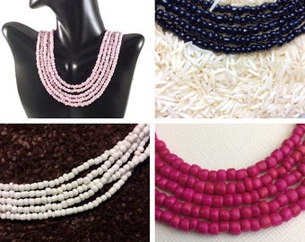 multilayered necklace, multistrand necklace, light pink necklace, hot pink necklace, black multi strand necklace, fuchsia necklace, white