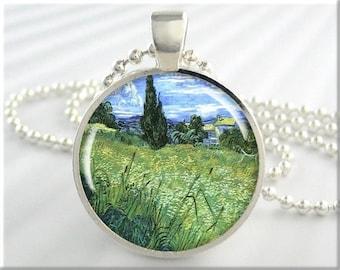 Van Gogh Pendant, Vincent Van Gogh Wheat Field, Vintage Art Jewelry, Impressionist Necklace Charm, Round Silver, Vintage Art Gift 115RS