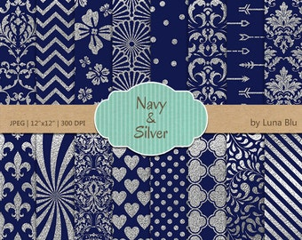 """Navy and Silver Digital Paper: """"Silver Foil Patterns"""" navy digital paper, navy and silver scrapbook paper, silver digital paper"""