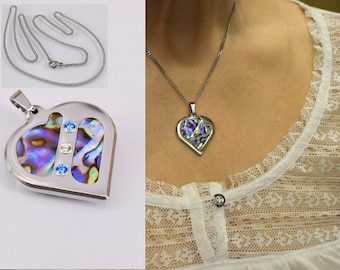 OOAK heart, necklace with pendant, cubic zirconia and abalone
