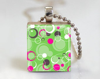 Green Polka Dot Bubble Abstract Print - Scrabble Tile Pendant - Free Ball Chain Necklace or Key Ring