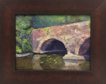 Plein Air Landscape Oil Painting The Stone Bridge Framed Art