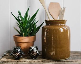 Vintage Brown Stoneware Crock // Kitchen Home Decor