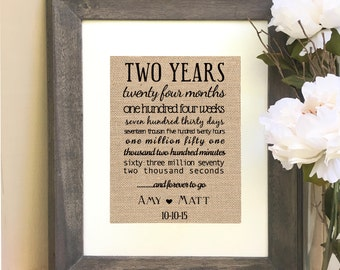 ON SALE 2nd Anniversary Gift Two Year Anniversary Gift  Print Years months weeks days hours minutes seconds