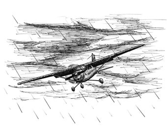 On Thin Ice Rainstorm Aviation Airplane Drawing Print