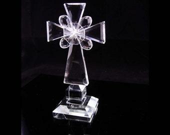 "8"" crystal cross statue Vintage Crucifix Religious statue wedding gift housewarming gift glass Cross Christian Catholic cross"