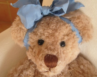 "Vintage Handmade 15""  Teddy Bear Signed by the Artist 1994 Baby Girl Removable Clothing"
