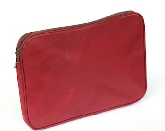Vintage red bag, Doctors briefcase, Laptop bag, Work handbag, Luxury gift, Vintage office folder, Gift for him