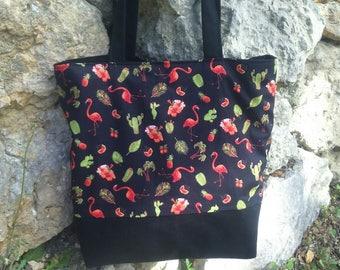 flamingos, cactus, pineapple, Palm trees shoulder bag