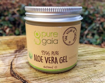 95% Pure Aloe Vera Glow Gel, Moisturiser For Dry Skin, Problem Skin and Oily Skin (60ml/2.1 fl oz)