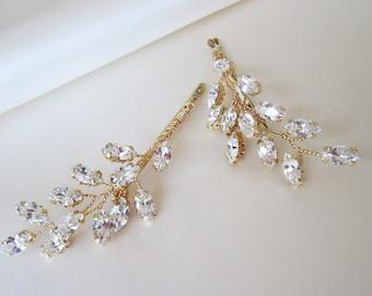 Swarovski crystal hair pins, Bridal crystal bobby pins, Leaf crystal hair pins, Wedding crystal bobby pins, One pair