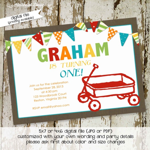 little boy 1st birthday rustic baby boy shower invitation kraft paper rustic chic bunting banner invite red wagon co-ed 265 Katiedid Designs