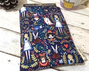 Metallic Alice Book Buddy®, Custom Size Book Sleeve, Book Gift for Her, Navy Wonderland Book Bag, Padded Book Pouch, Gifts for Bookworms