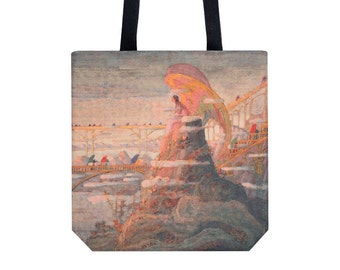 Handbag Tote bag Shopping bag Canvas tote Shopping tote Martket bag Shoulder bag Angel pattern