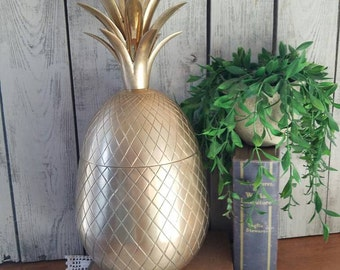"""Extra Large Brass Pineapple Ice Bucket Container 15"""" Tall - Hollywood Regency"""