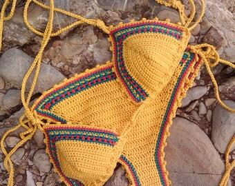 crochet bikini set Jamaican 1 Bikini Crochet Swimwear rasta bikini crochet bikini crochet swimsuit crochet beachwear String bikini