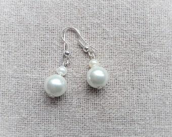 White bridal earrings Pearl Earrings white earrings wedding earrings white