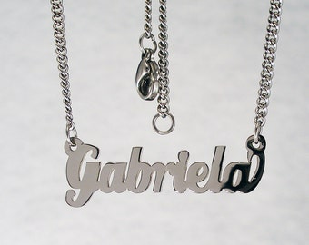 Gabriela  name necklaces. stainless steel. next day ship. never tarnishes. shiny silver color