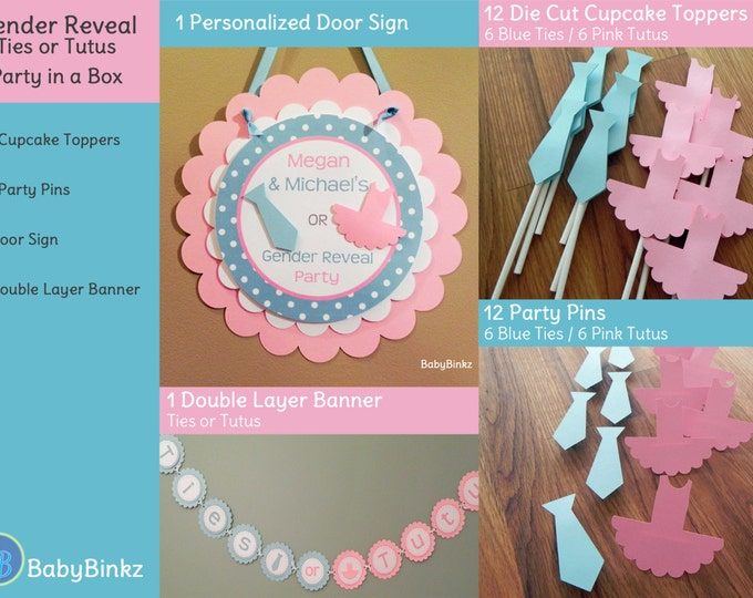 Gender Reveal Party in a Box - Ties or Tutus Party Decoration Package set die cut bow tie blue pink ballet banner cupcake photo prop pin