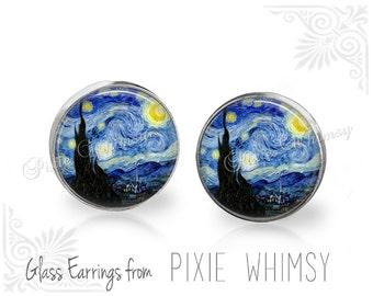 STARRY NIGHT Earrings, Van Gogh Starry Night Stud Earrings, Starry Night Post Earrings, Starry Night Stud Earrings, Art Pierced Earrings