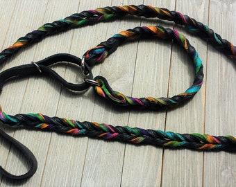 Leather Agility Lead, Leash for Dog,  Agility,  Martingale Leash, Tie Dye and Black