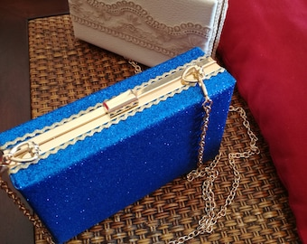 Clutch faux leather and glitter