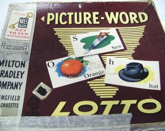 Picture Word Lotto Game, Milton Bradley, 1958, Assemblage Art, Collage, Children, nouns, Preschool, USA, Flash Cards, Paper Craft