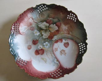 HAND PAINTED STRAWBERRY Plate