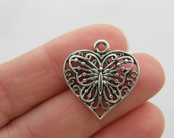 BULK 30 Butterfly heart charms antique silver tone A114