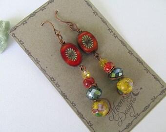Gypsy Earrings, Boho Chic, Glass Bead Earrings, Bohemian Earrings, Picasso Beads, Moonlilydesigns, FTD Awareness