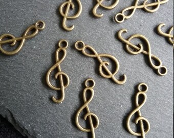 10 Treble Clef Musical Note Charm Antique Bronze 26x9mm