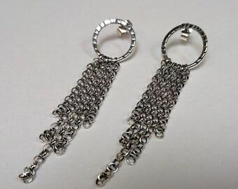 Sterling silver handmade oxidised chain earrings, hallmarked in Edinburgh