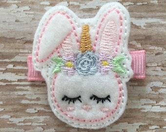 Unicorn Bunny White Pink Felt Hair Clip  Baby Girl, Toddler Hirl, Girls