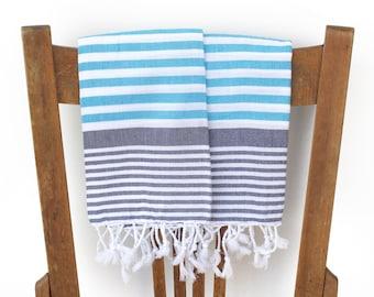 Kitchen Towels Handwoven Cotton Turkish Hand Towel Face Towel Tea Towel Guest Towel Spa Turkish Towel Navy Blue Turquoise MARINE PESHKIR SET
