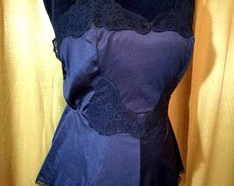 70s Black Lace Teddy 34/S