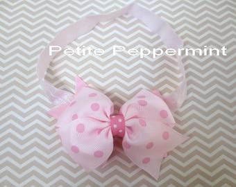 Pink Polka Dot Baby Bow Headband, Newborn Headband, Toddler Headband, Infant Head Band, Pink Girl Hair Bow, baby head band bow