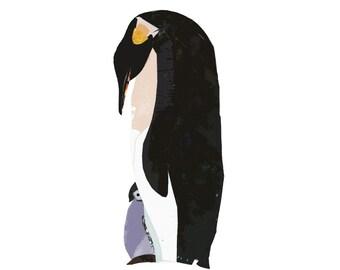 Penguin 8.5 x 11 Print of an Original Collage