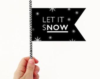 Let it snow paper christmas flag