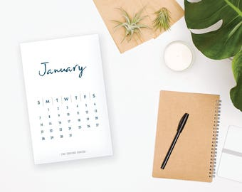 2018 Printable Monthly Calendar - Casual Font, Blue, Wall or Desk Calendar - Home Office organizing - 2018 Instant Download Calendar