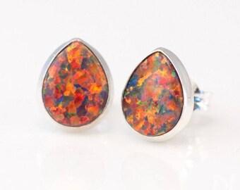 Fire Opal Stud Earrings, Sterling Silver Earrings, Gemstone Studs, Gift for Sister, Boho Stud Earrings, Bezel Stone Earrings, Gift for Her