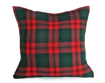 Fall Pillow, Wool Pillows, Red Green Pillow, Plaid Pillow, Winter Pillow Cover, Zippered Pillows, 12x18, 14x20, Lumbar, Rustic Fall Decor