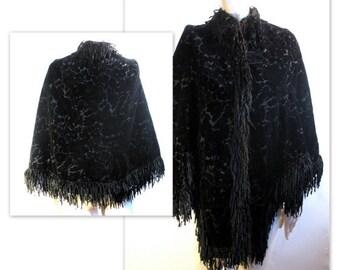 AS de manteau velours dévoré soie victorienne antique est