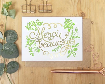 Merci beaucoup card, French thank you card, Wedding thank you card, Thank you very much card, Thank you card set, Thank you card pack,