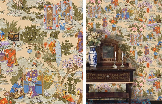 Dollhouse Miniature Wallpaper, Chinoiserie in Technicolor, Scale One Inch