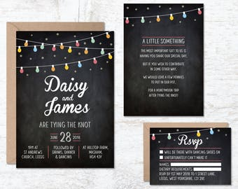 Boho Wedding Invite, Fairy Lights Invitation, Wedding Invitation Template, Festival Wedding, Festoon Light Invitation, Summer Festival