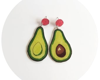 Avocado Stud and Dangle Earrings with Coral