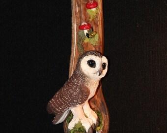 Ceramic Owl Bird Wall Art - Hand Sculpted - OOAK