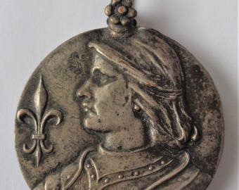 Antique Locket St. Joan Of Arc With Mirror