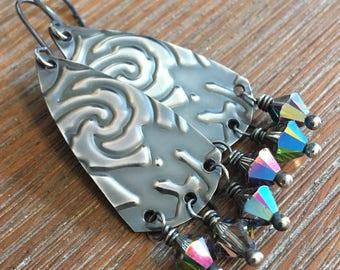 Sterling Silver and Swarovski Crystal Embossed Earrings