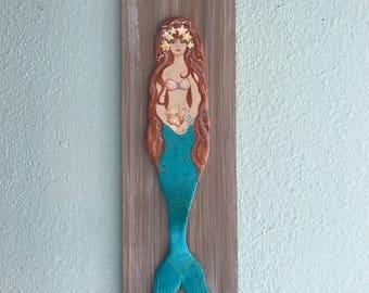 Gorgeous Custom Mermaid On Driftwood,mermaid art,custom mermaid,little mermaid,wedding mermaid,bridal mermaid,girl's gift,fantasy mermaid